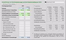 berechnung der k 246 rperschaft und gewerbesteuer in excel