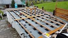 Terasse Auf Garagendach Unterkonstruktion Garage Dach