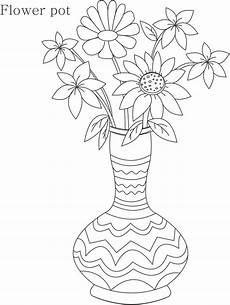 flower pot coloring printable page for 8