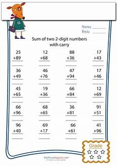 two digit addition with carryover matematik math math subtraction ve addition worksheets