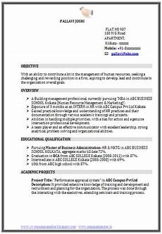 latest resume format for freshers mba hr resume cv sle format human resources hr fresher