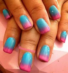 pink and blue ombre nail art gallery
