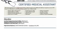 medical assistant sle resume sle resumes