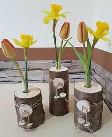 Deko Holz Selber Machen - 3er set holzvase vase baumstamm deko holz natur tischdeko