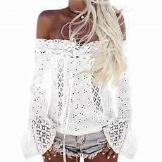 top blanc chic 2019 boho top shoulder shirt white lace blouse