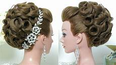 bridal hairstyle wedding updo for hair tutorial youtube