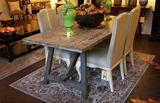 Wood Sawhorse Dining Table Built In Solid Reclaimed Wood