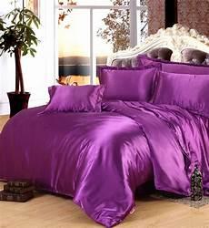 purple silk comforter sets satin bedding sheets duvet cover bedspread linen king size queen