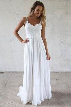 a line spaghetti straps lace top beach wedding dresses