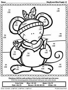 thanksgiving subtraction with regrouping worksheets 10720 thanksgiving math activities mayflower mice color by the code puzzles