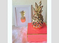 Gold pineapple decor & coral box for office #