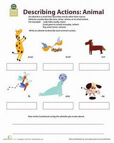 describe animals worksheets 13839 animals worksheets and adverbs on