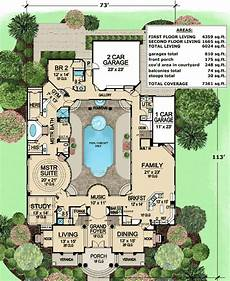 courtyard pool house plans plan 36186tx luxury with central courtyard pool house