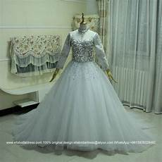 2016 new full sleeved heavy beaded ball gown wedding dress