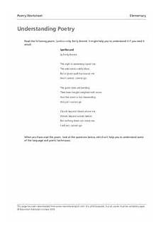 poetry repetition worksheets 25346 understanding poetry elementary worksheet for 4th 6th grade lesson planet