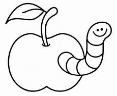 Malvorlagen Obst Quiz Kostenlose Malvorlage Obst Und Gem 252 Se Apfel Mit Wurm Zum