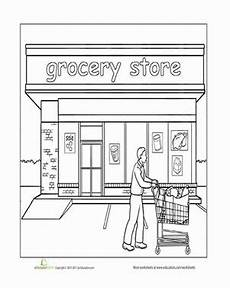 coloring pages places in town 18038 paint the town grocery store