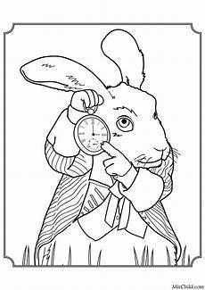раскраска алиса в зазеркалье белый кролик mirchild
