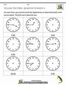 printable worksheets on time for grade 4 3763 clock worksheets quarter past and quarter to
