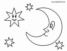 smiling and moon colouring pages coloring