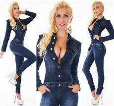 s sleeve stretch denim jumpsuit overall