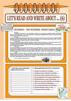 let s read and write about 6 my school timetable