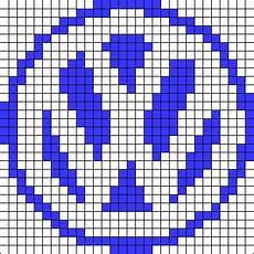 Pixel Logo Voiture Volkswagen Logo Perler Bead Pattern Cross Stitch
