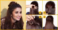 How To Make Open Hair Style how to do a easy and fast half bun hairstyle