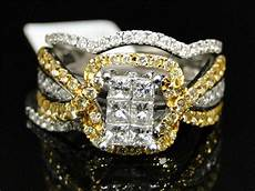 14k white gold yellow canary diamond engagement wedding