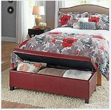 upholstered storage ottoman red sitting bench coffee table bedroom furniture new 761193094534 ebay