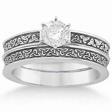 carved irish celtic engagement ring wedding band palladium u2452