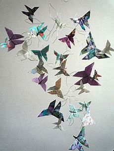 papillon papier decoration mobile nu 233 e de papillons en pliage