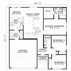 traditional style house plan 3 beds 2 baths 1250 sq ft