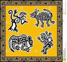 Indianische Muster Malvorlagen Bilder Set Alte Indianische Muster Tiere Vektor Abbildung
