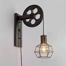 buy pulley wall with industrial cage light and wooden handle pendant light by industrial