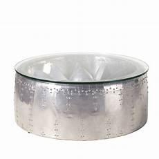 table basse ronde indus en aluminium et verre