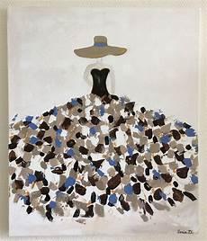 format toile peinture tableau moderne femme robe coloree sur toile format 55x46 peintures par creation