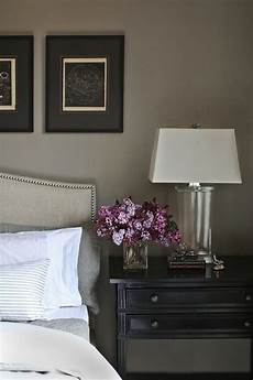 catherine kwong design ethereal bedroom with warm gray paint color crate barrel colette bed