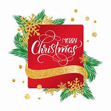 calligraphic merry christmas lettering decorated text frame background with gold