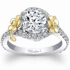 barkev s 14k white yellow gold flower halo diamond