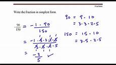 write the fraction in simplest form 90 divided by 150 youtube youtube