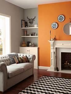 standard emulsion standard emulsion matt paint living room orange feature wall living room