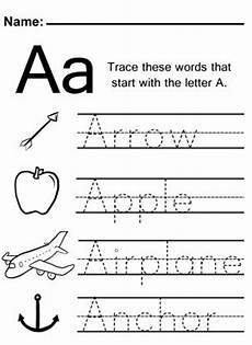 the letter a worksheets for kindergarten 24661 trace the letter a worksheet with images alphabet worksheets preschool kindergarten
