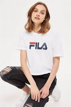 t shirt en cropped logo t shirt by fila topshop europe