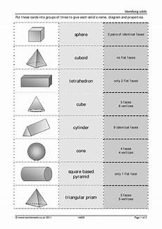shapes worksheets ks4 1159 solids and nets identifying 3d shapes search results teachit maths