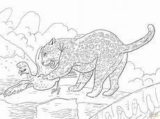 jaguar catches a bird coloring page free printable