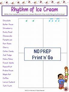 rhythm activity sheets match the notation to the words tpt