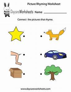 free preschool picture rhyming worksheet