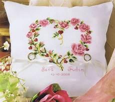 rose heart ring bearer s pillow count aida diy wedding cross stitch pillow wedding