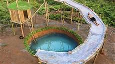 Build Water Slide House Around Underground Swimming Pool